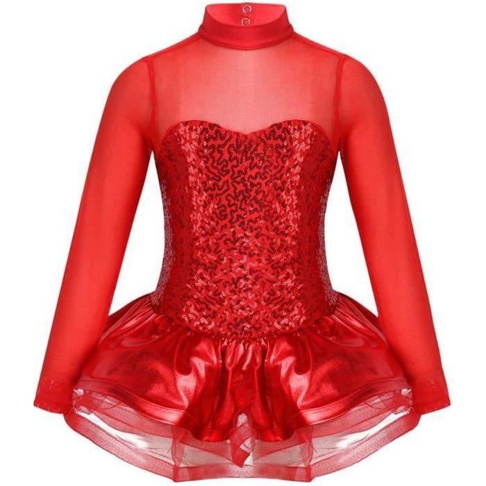 Enfant Fille Robe de Patinage Artistique Robe de Danse Ballet Tutu Justaucorps Gym Leotard Sport Yoga Rouge