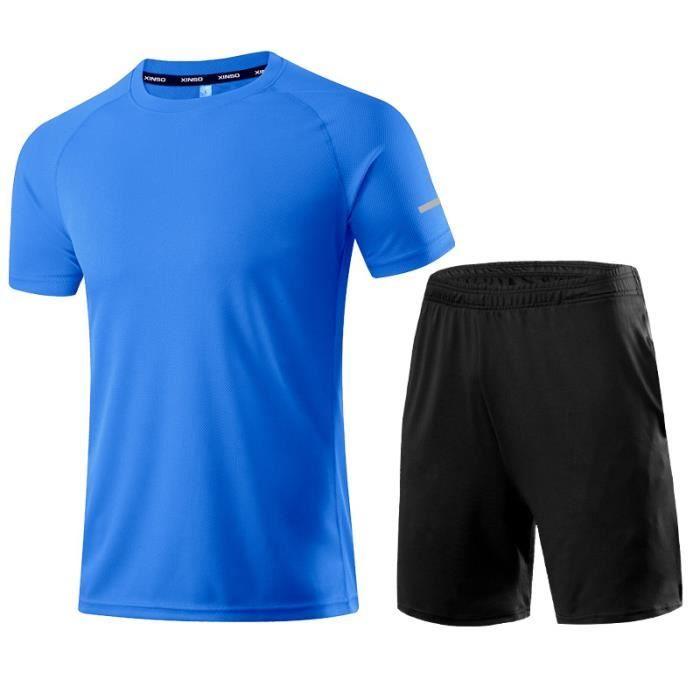 Ensemble De VêTements De Sport T-shirt col rond et short respirant tout noir Vêtements de sport à séchage rapide