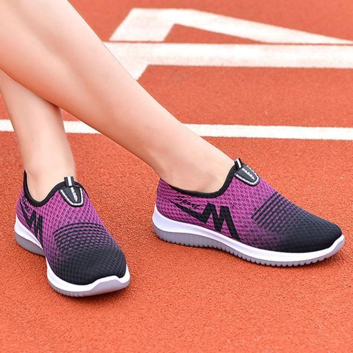 chaussure de securite Mesh respirant femmes marchant chaussures légères appartements chaussures de sport chaussures de tennis