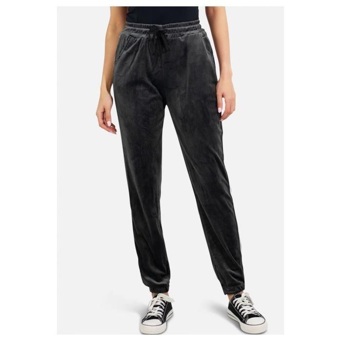 Pantalon jogging en velours Femme Gris
