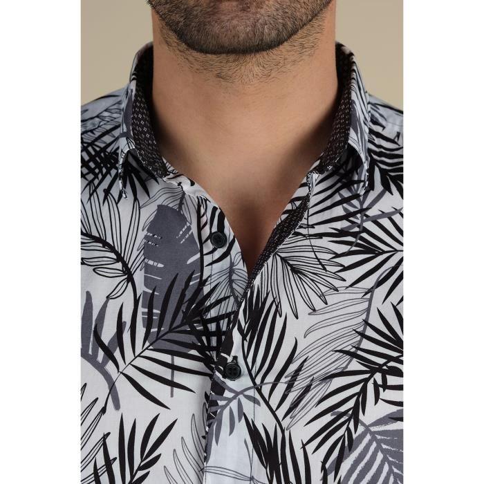 DEELUXE Chemise manches courtes imprimé tropical SOLEDAD Grey