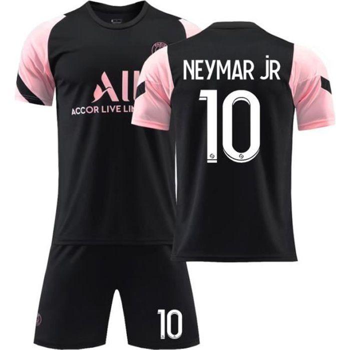 Maillot de Football 2122 T-Shirt de l'équipe Paris-Neymar 10 Tenue de Training Noir Tenue de Formation Respirant pour Junior Enfant