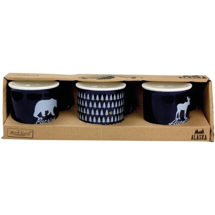 ARD'TIME - 3 Mini mugs porcelaine Alaska design Bleu 14cl