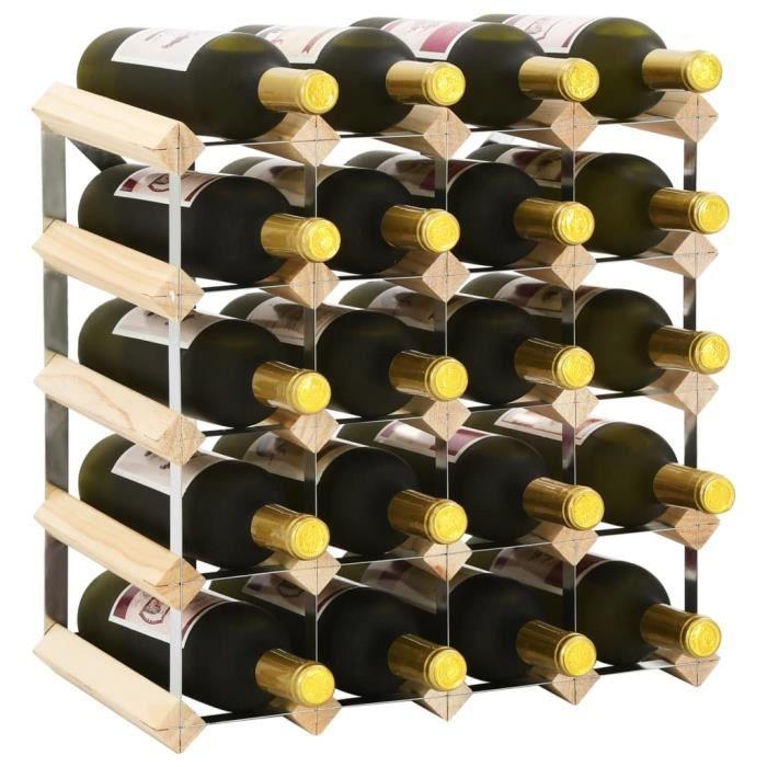 Casier à bouteilles Étagère à bouteille Cave à vin de conservation pour 20 bouteilles Pinède solide