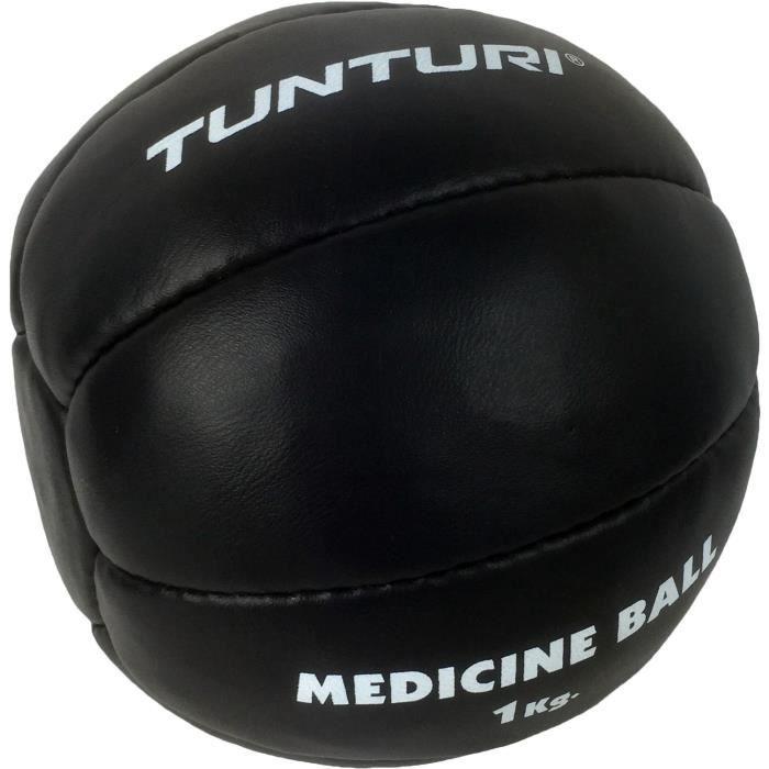TUNTURI Balle de médecine / Ballon médicinal / Medicine ball en cuir 1kg noir