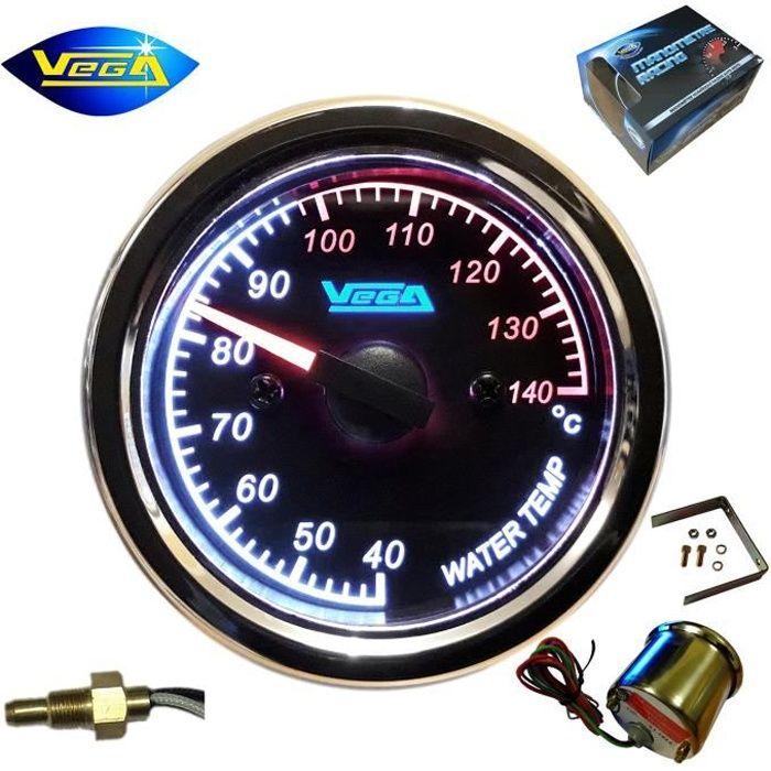 Manomètre Vega® température d'eau circuit refroidissement inox étanche 40-140 °C moto bateau chromé éclairé 52 mm marque Française