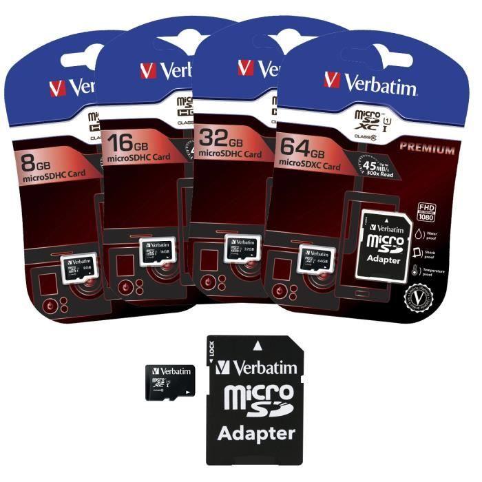 Carte Micro SD 64GO avec adaptateur 10MB / s