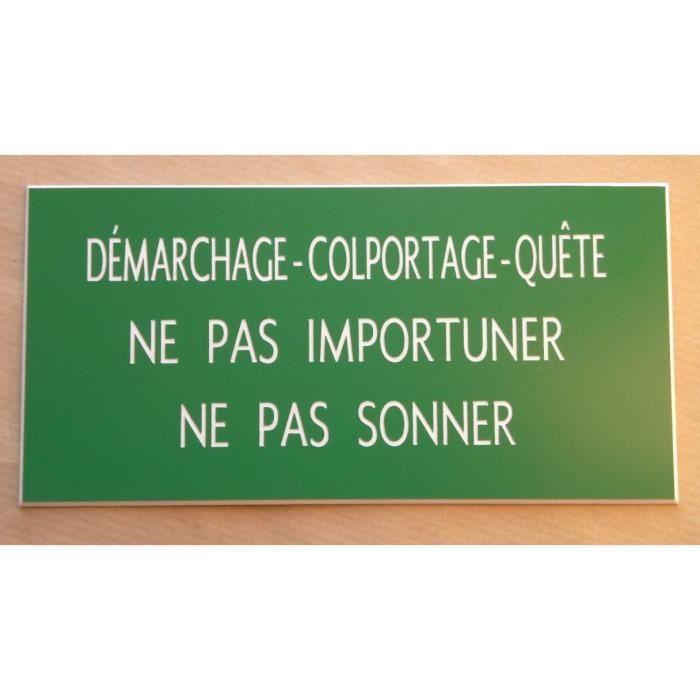 plaque gravée DÉMARCHAGE • COLPORTAGE • QUÊTE NE PAS IMPORTUNER Ft 100 x 48 mm