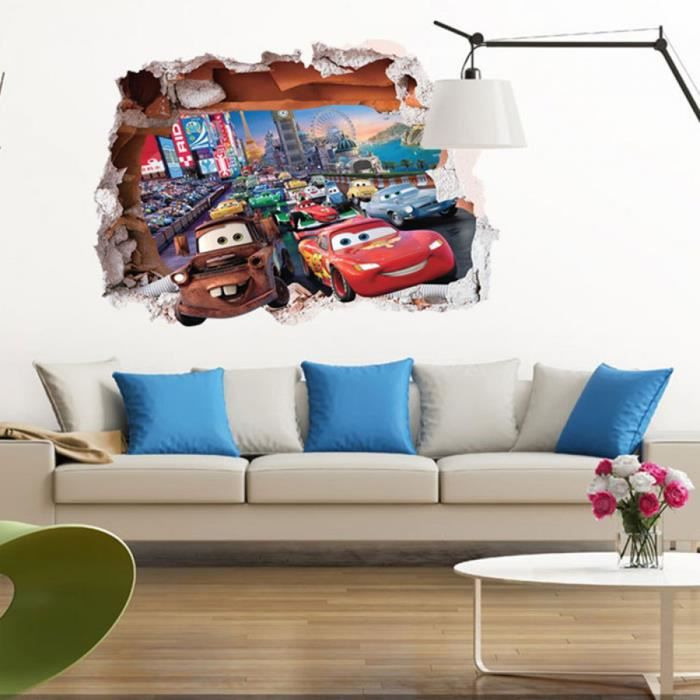 Dessins Animés 3d Voiture Stickers Muraux Pour Enfants ...