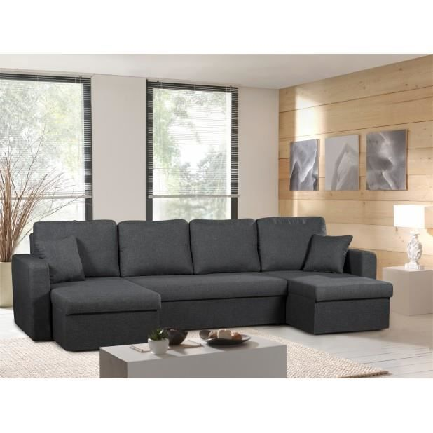 canap panoramique convertible gris anthracite venus sofa divan achat vente canap sofa. Black Bedroom Furniture Sets. Home Design Ideas
