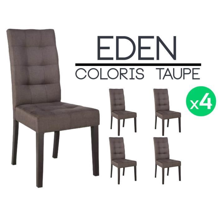 eden lot 4 chaises taupe achat vente chaise marron cdiscount. Black Bedroom Furniture Sets. Home Design Ideas