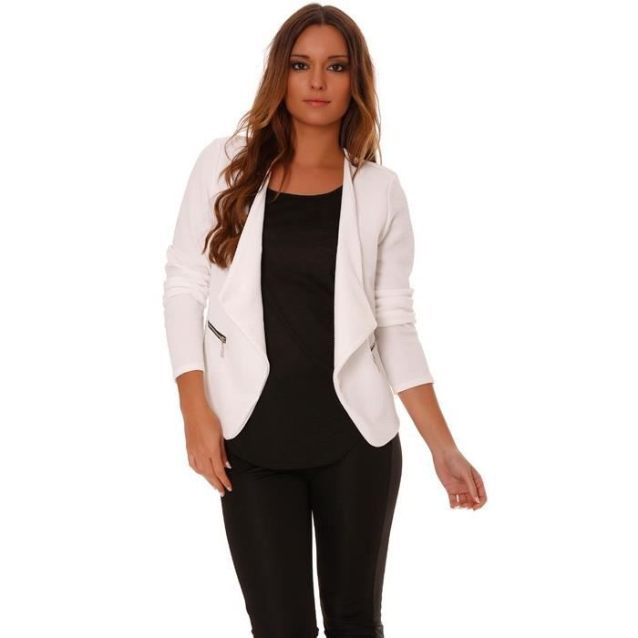 veste de blazer blanche femme coupe ajust e achat vente veste 3700973212840 cdiscount. Black Bedroom Furniture Sets. Home Design Ideas