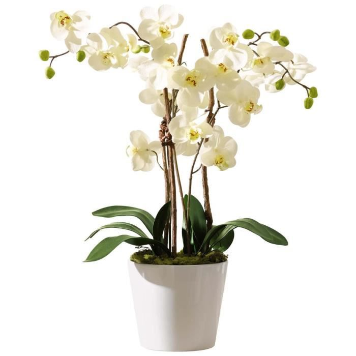 pureday plante artificielle orchid e avec pot en c ramique blanc achat vente fleur. Black Bedroom Furniture Sets. Home Design Ideas
