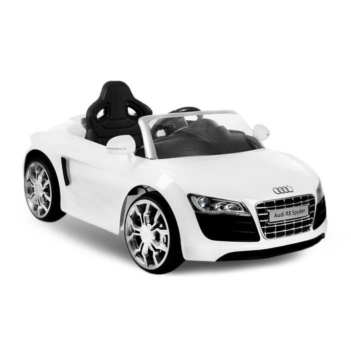 voiture lectrique pour enfant audi r8 2x25w blanc. Black Bedroom Furniture Sets. Home Design Ideas