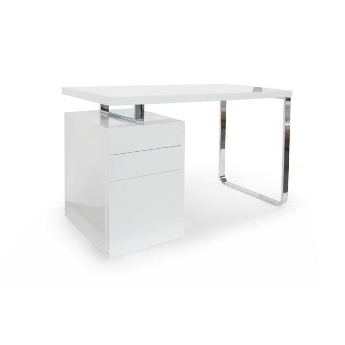 bureau avec rangement blanc laqu tisha achat vente bureau bureau avec ra. Black Bedroom Furniture Sets. Home Design Ideas