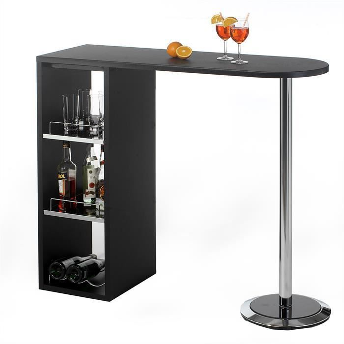 Table haute de bar mdf laqu noir et verre d poli achat for Table de bar haute but