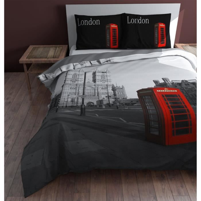 parure de lit housse de couette double londres achat vente parure de lit cdiscount. Black Bedroom Furniture Sets. Home Design Ideas
