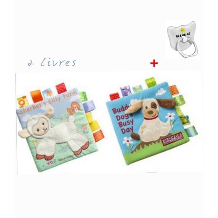 2pcs Livre D Eveil Bebe Enfant Jouet D Eveil Livre Jouets Educatifs Puzzle Animaux Tissu Livre Bebe Jouets Tiss