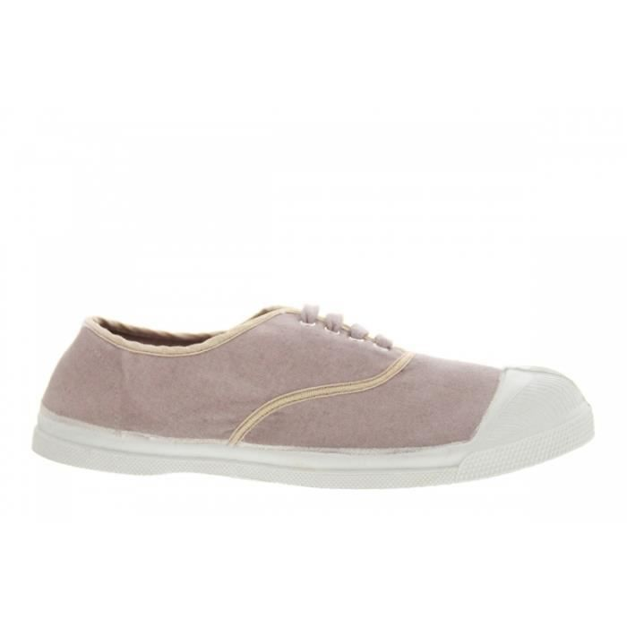Baskets mode - Bensimon Lacets Shinny Piping Cuivre Rose Gris GBWL9U