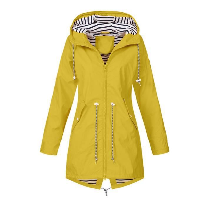 Outdoor Hooded Raincoat Femme Vestes Pluie Veste Solide Imperméable Y7XP0