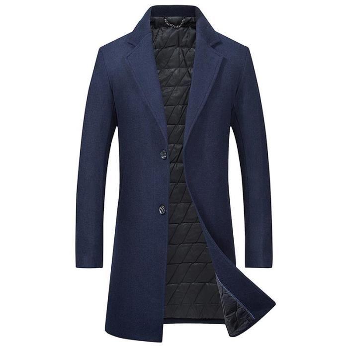 Épais Automne Manteau Mi Pardessus Couleur Laine Classique Unie Slim Fit Homme Hiver Long iZTOuPkX