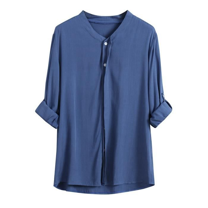 Col Chemises Fit Manches Loose À Femmes Stand De bleu Longues Button Chemisier Cardigan A81zqxHwc