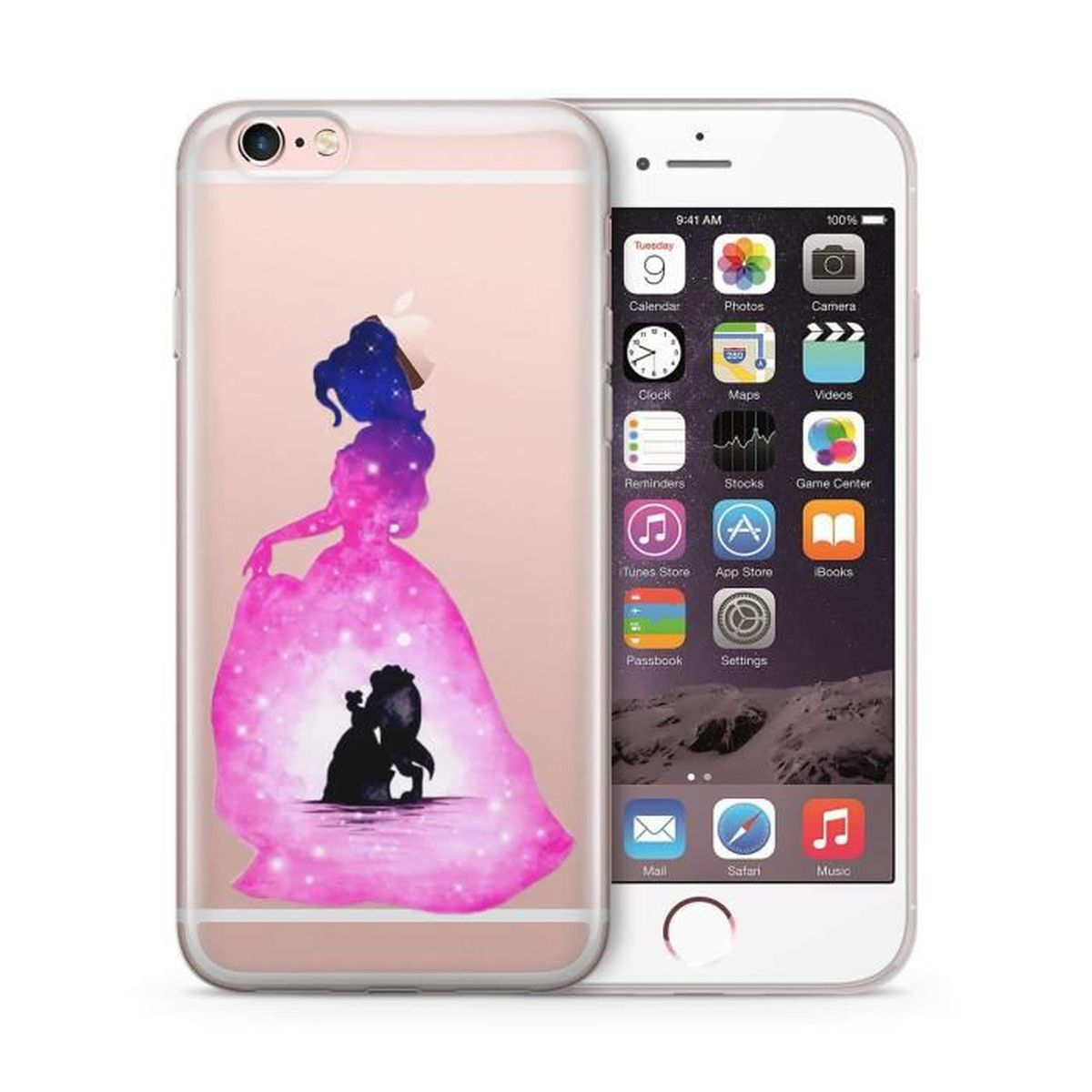 Coque Iphone 5 5S sillicone Disney La Belle et la Bête Etui Housse Bumper
