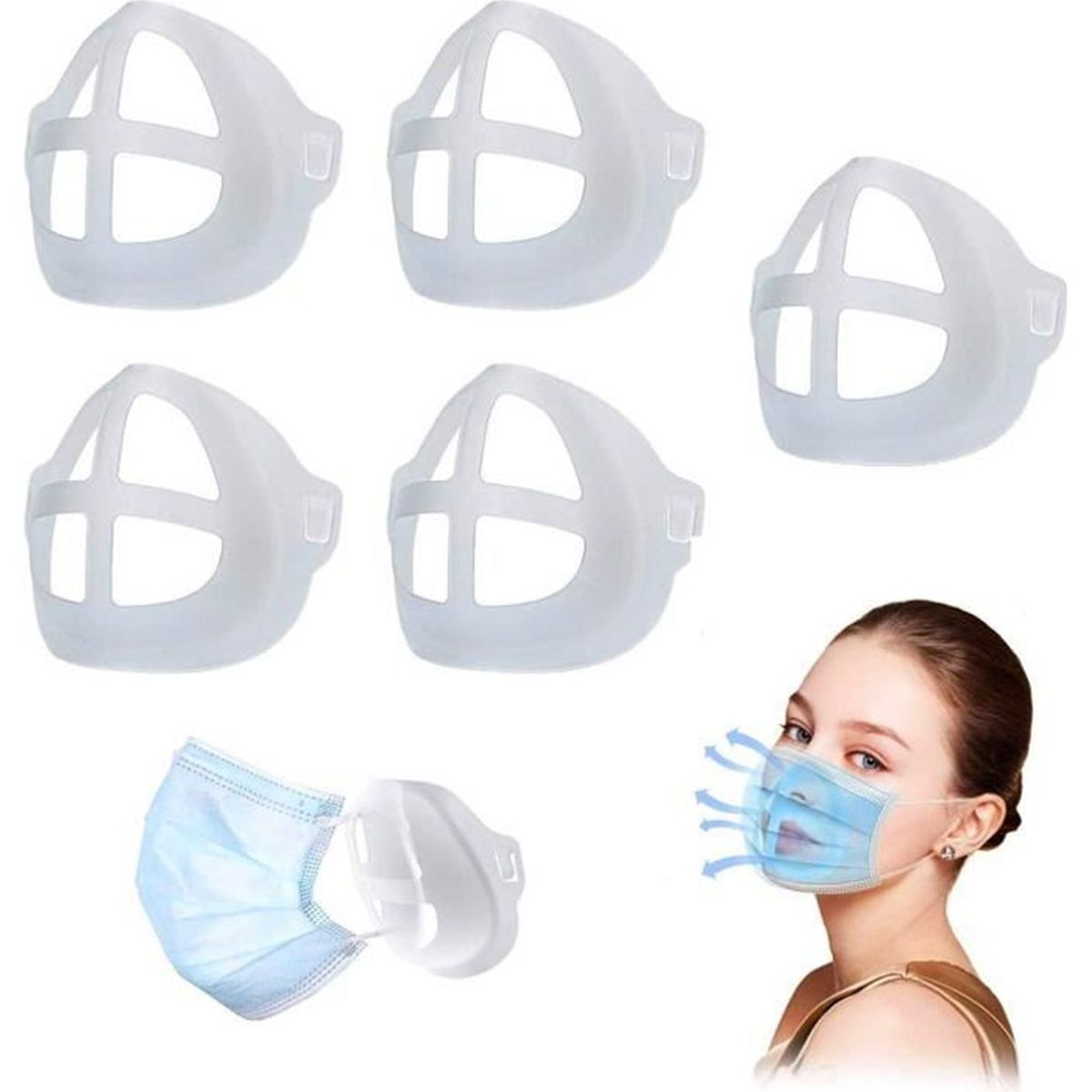 Cadre de Support de Masque TriLance 2pcs Supports 3D en Silicone pour Masque Coussin Int/érieur pour Protection du Rouge /à L/èvres Tampon Nasal pour Bouche et Nez