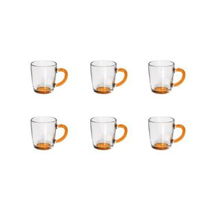 BIALETTI 6 mugs en verre 330ml transparent et orange
