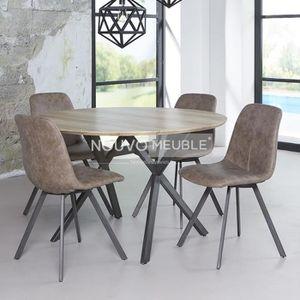 TABLE À MANGER SEULE Table à manger ronde couleur bois NINE