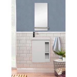 MIROIR SALLE DE BAIN Meuble Lave-mains Blanc + miroir L41,5 x H53 HAMPT