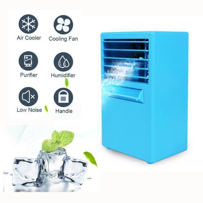 2019 Nouveau Mini Climatiseur,4 en 1 Mini Climatiseur/Humidificateur/Purificateur/Fan,d'pour Chambre, Bureau, Maison d'extérieur (Bl