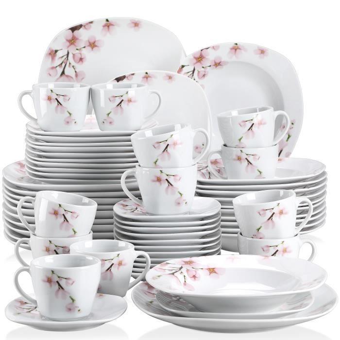 Veweet ANNIE 60pcs Service de Table Porcelaine Sakura 12pcs Assiette Plate / Assiette à Dessert / Assiette Creuse / Tasse / Soucoupe