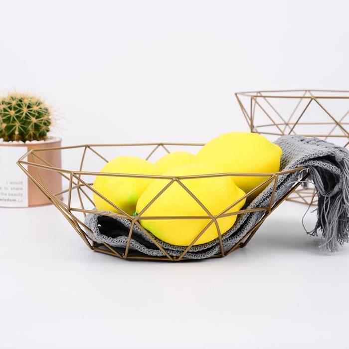 Affichage de bureau de stockage de cuisine de bol en métal de panier de fil de légume de fruit géométrique ZSD90227133GD_Laisher