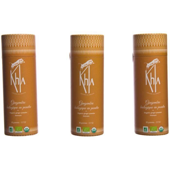 KHLA - Gingembre moulu bio - Poudre de Gingembre - Issu de l'Agriculture Biologique et du Commerce Equitable - Boîtes 3 x 90g