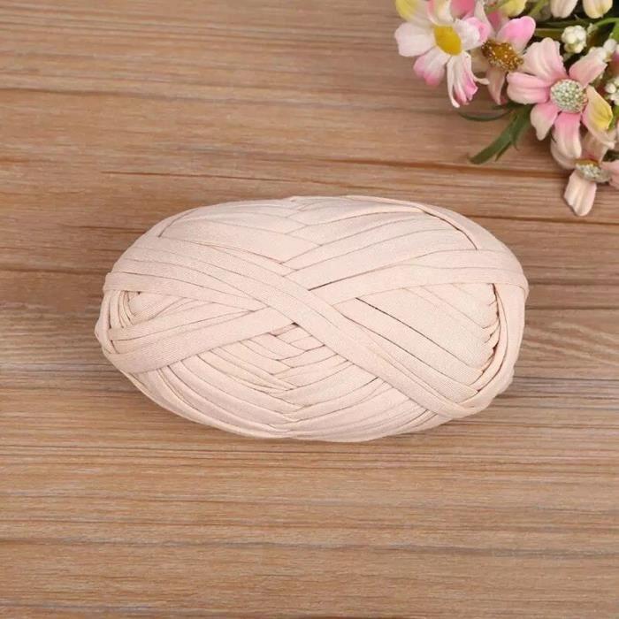Fil de tissu à tricoter épais en coton, 100g, pour bricolage, tissage doux, couture de tapis, couverture para Light beige -WGHY666