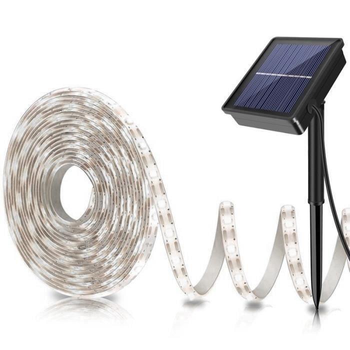 Bande LED Solaire 5m Bande Flexible Lumière Extérieure 2835 SMD Lampe De Clôture De Jardin Imperméable Lumière Blanche-Blanc BB23