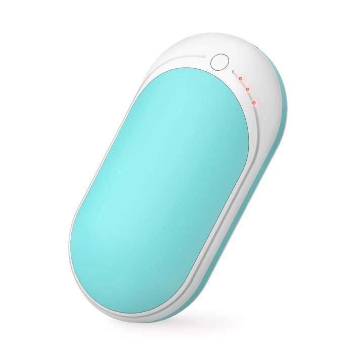 Rn 5200mAh Rechargeable Chauffe-Mains-USB Banque d'alimentation, Chaleur Double Face Bleu Y360