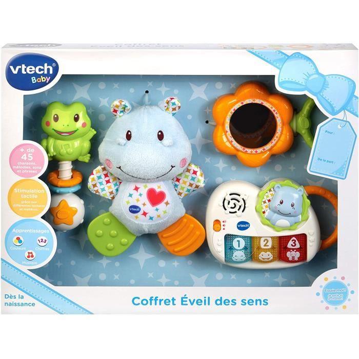 VTech - Coffret naissance - Eveil des sens - Cadeau de naissance avec premiers jouets de Bébé - bleu - Version FR