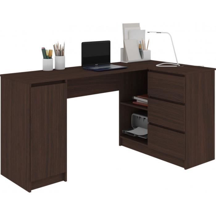 BALAUR - Bureau informatique d'angle contemporain 155x85x77cm - 3 tiroirs + niches - Table ordinateur multi-rangements - Wenge