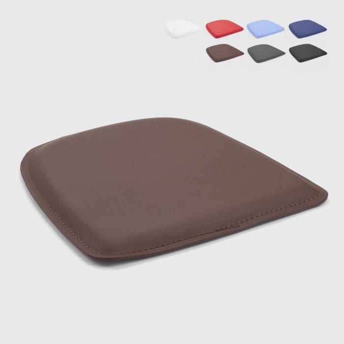 4 Coussins rembourré en simili cuir chaise tolix intérieur et extérieur 32x32 Fix, Couleur: Marron