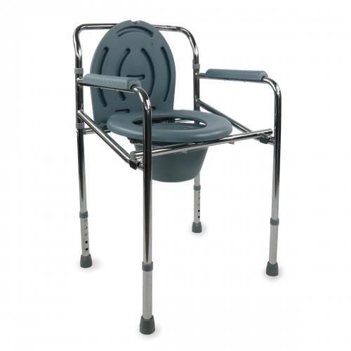 Chaise percée / chaise toilette - Acier chromé - Pliable et réglabe en hauteur - Puente - Mobiclinic
