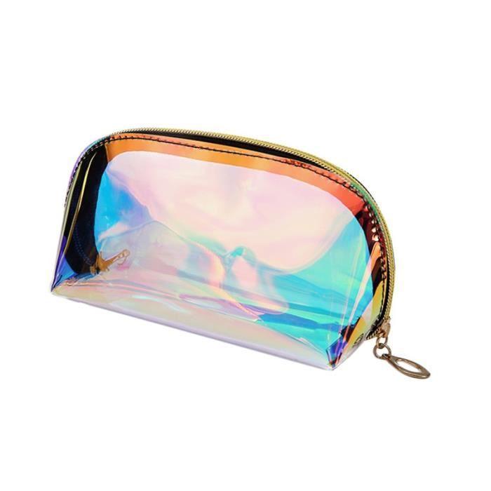 Sac à main,Trousse de maquillage holographique,pochette transparente de grande capacité pour produits cosmétiques - Type s