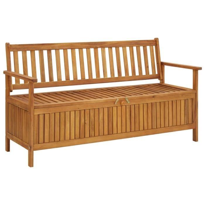 Style Essentiel- Banc avec Espace de Rangement, Banquette de jardin, Siège, Coffre de Rangement, 148 cm Bois d'acacia solide ®5529®