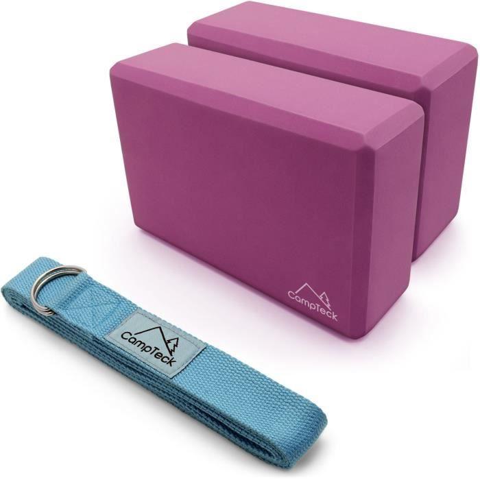 CampTeck Sangle Yoga Ceinture de Yoga Postures & Bloc Yoga Mouse Brique de Yoga Fitness [Bleu 2x 183cm + 2x Bloc]