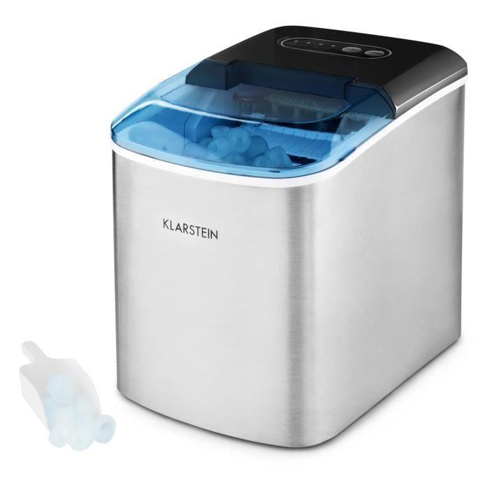 Klarstein On-The-Rocks Machine à glaçons avec éclairage LED - Fabrication 12kg de cubes de glace en 24h - Réservoir 2,1L - Inox