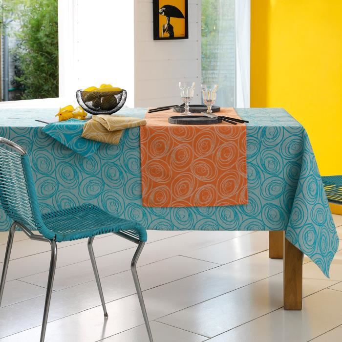 Lot de 3 serviettes de table 45x45 cm Jacquard 100% coton SPIRALE orange papaye Orange