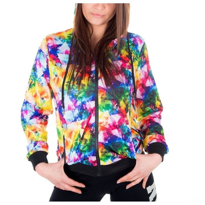 FREEGUN Veste Sweat Zippée Triangle Multicolore Femme