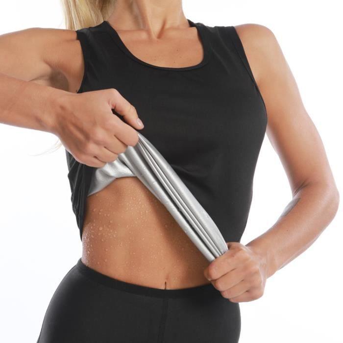 Sudation Débardeur pour Femme Sauna T Shirt Gilet de Minceur Fitness Body Shaper