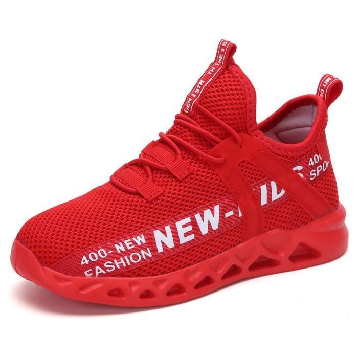 Chaussures de course de sport en maille pour enfants, légères et respirantes-rouge